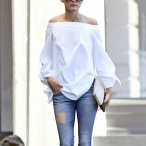 Free People show me shoulder cotton tunic EUC